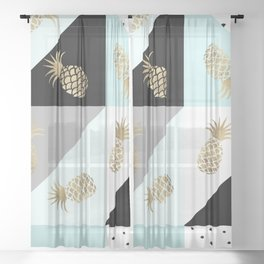 Pastel color block watercolor dots faux gold pineapple Sheer Curtain
