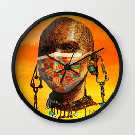 Global Face Mask Orange Wall Clock