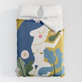 Blue Plant Lady Duvet Cover