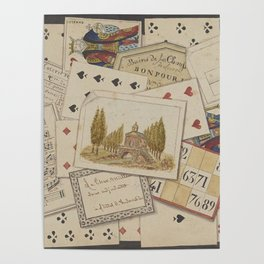 TROMPE L'OEIL Playing Cards Music Notes - 19th century France King Color Drawing Home Decor - Wall Engraving Poster