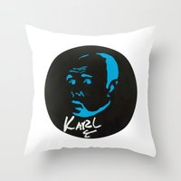karl Throw Pillows featuring Karl Pilkington  by All Surfaces Design