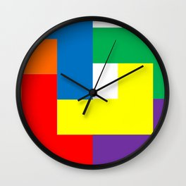 Rainbow Blocks Wall Clock