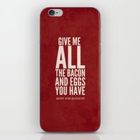 parks and recreation iPhone & iPod Skins featuring Bacon and Eggs - Ron Swanson - Parks and Recreation by Sandra Amstutz