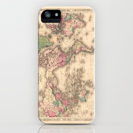 1861 World Map - Johnson's World on Mercators Projection iPhone Case