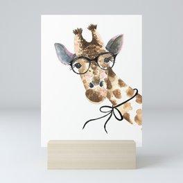 Giraffe with Glasses · Baby Giraffe · Baby Animals · Animals with Glasses · Giraffe with Bow Mini Art Print