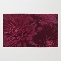 burgundy Area & Throw Rugs featuring Burgundy Chrysanthemums by Judy Palkimas