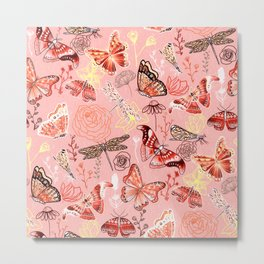Dragonflies, Butterflies and Moths With Plants on Flamingo Pink Metal Print