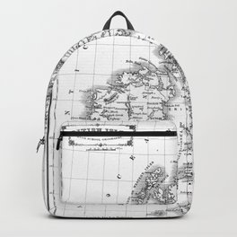 Vintage Map of The British Isles (1864) BW Backpack