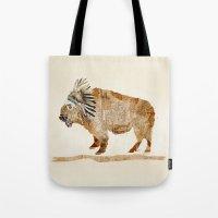 buffalo Tote Bags featuring buffalo by bri.buckley