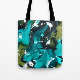 Turquoise and Green Abstract Tote Bag