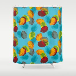 Falling leaves on blue Shower Curtain