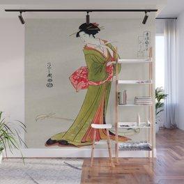 A Geisha in Green Wall Mural