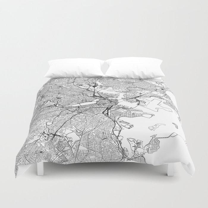 Boston White Map Bettbezug