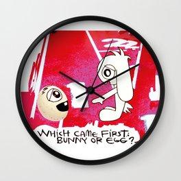 Easter Bunny vs Egg Wall Clock
