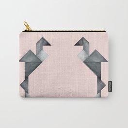 Tangram Flamingo Black Carry-All Pouch