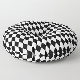 Classic Black and White Harlequin Diamond Check Floor Pillow