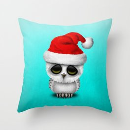 Christmas Owl Wearing a Santa Hat Throw Pillow