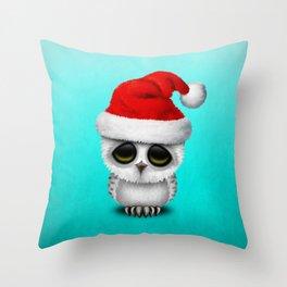 Christmas Owl Wearing a Santa Hat Throw Pillow