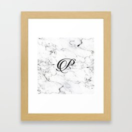 Letter P on Marble texture Initial personalized monogram Framed Art Print