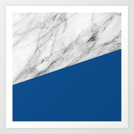 Marble and Lapis Blue Color Art Print