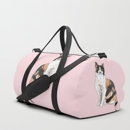 Cat Portrait Calico in Pink Duffle Bag