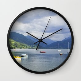 Blue mountain lake Wall Clock