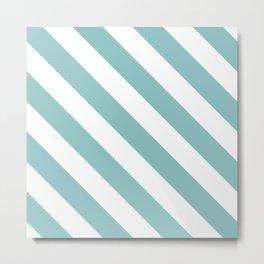Chalky Blue Diagonal Stripes Metal Print