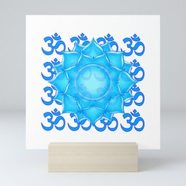 Blue Glass Lotus Flower Drawing With Om Pattern Mini Art Print