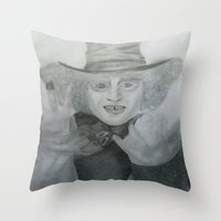 mad hatter Throw Pillows featuring Mad hatter by crazy_feline