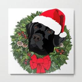 Duke the Lab does Christmas Metal Print