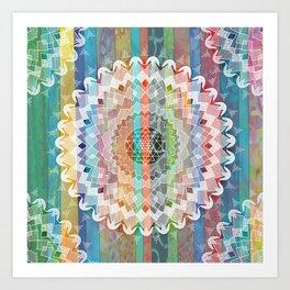 Boho Stripe Mandala Art Print