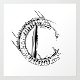 'C' Bali Alphabet Illustration by Hannah Stouffer Art Print