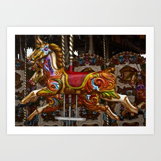 Colourful Carousel Horses Art Print