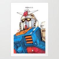 gundam Art Prints featuring Gundam by Sheharzad
