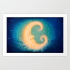 Sleepy Moon Art Print