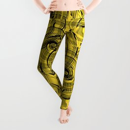 Yellow , black , abstraction , spiral Leggings