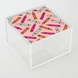 Crayons on Pink Pattern Acrylic Box