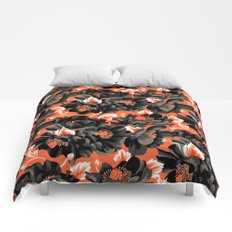 Mount Cook Lily - Orange/Black Comforters