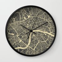 london map Wall Clocks featuring London map by Map Map Maps