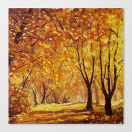 Sunny autumn wood - Palette Knife Oil Painting On Canvas By Valery Rybakow Canvas Print