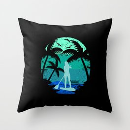SUP Standup Paddle Board Retro Vintage Design Gift Throw Pillow