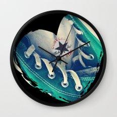 Converse Love in Black Wall Clock