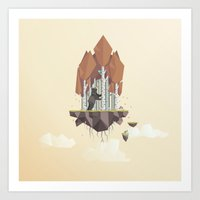low poly Art Prints featuring Low Poly Autumn Bear by scarriebarrie