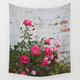 pink roses and old wall Wall Tapestry