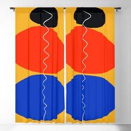 Zen minimal abstract art yellow blue red black Blackout Curtain