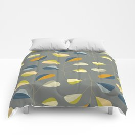 Mid Century Modern Graphic Leaves Pattern 3. dark grey Comforters