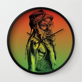 Old rastafarian man smoking against red, yellow, green background Wall Clock