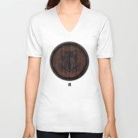 skyrim V-neck T-shirts featuring Shield's of Skyrim - Solitude by VineDesign