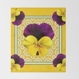 Golden Modern Art Deco Purple Pansy Pattern Art Throw Blanket