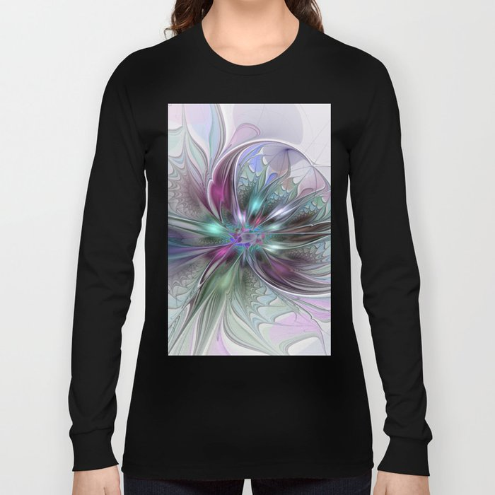 Colorful Fantasy Abstract Modern Fractal Flower Long Sleeve T-shirt